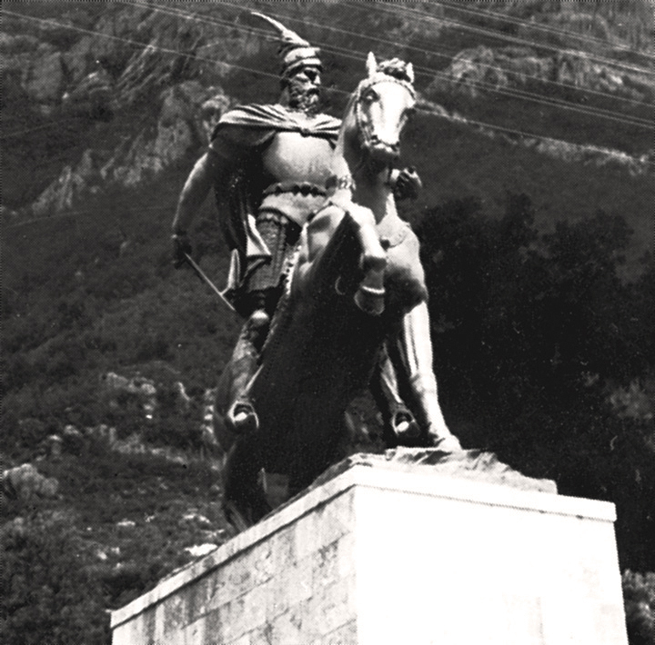 Monument to the Albanian national hero Skanderbeg in Kruje
