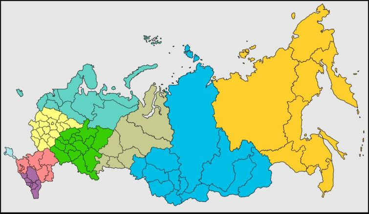 Map of the federal districts of the Russian Federation