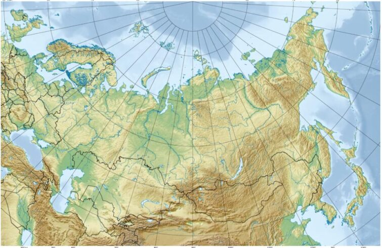 Relief map of Russia